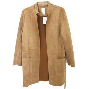 H&M Faux Suede Jacket Belt Brown Open Overcoat NWT